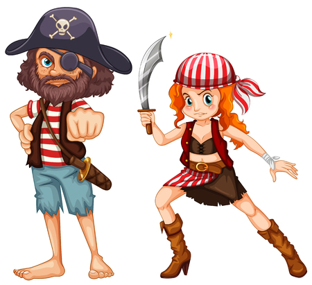 eyepatch: Pirate crews with weapons illustration Illustration