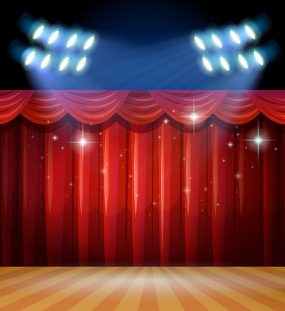 theatrical performance: Background scene with light and red curtains on stage illustration