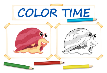 assignments: Coloring template with cute snail illustration