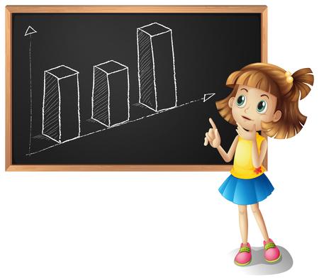 Girl explaining barchart on the board illustration