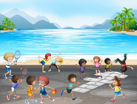 Kids playing different kinds of sports by the sea illustration