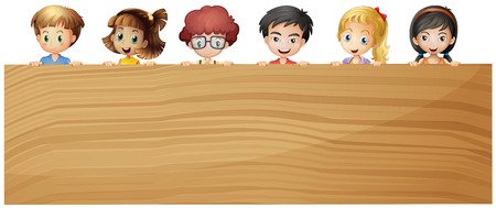 plywood: Kids holding wooden plywood illustration