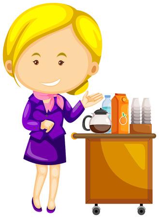 Flight attendant in purple uniform serving drinks illustration