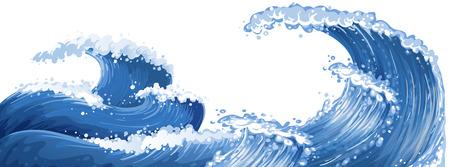 Grandes vagues dans l'illustration de l'océan