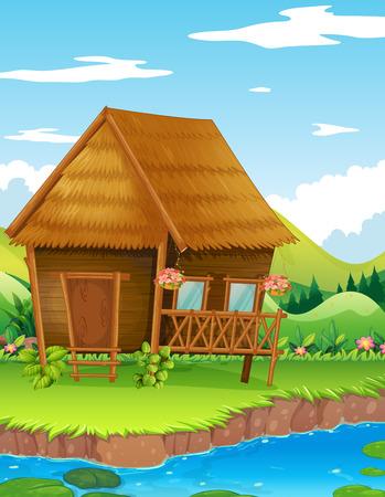 Houten cabine langs de rivierillustratie Stock Illustratie