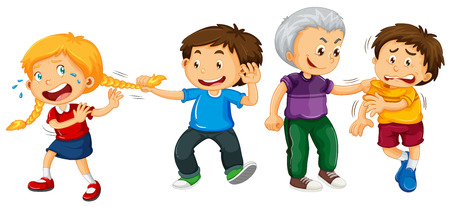 little boys: Boys bullying little kids illustration