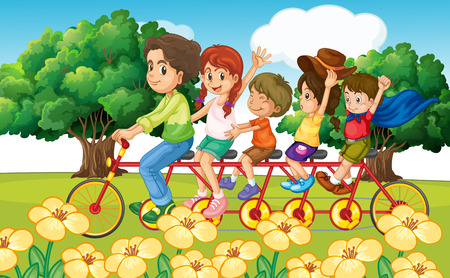 Parents and children riding bike in the park illustration
