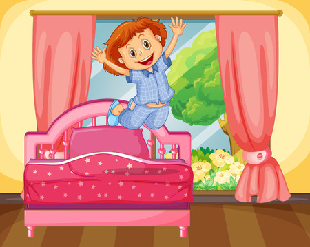 wake up: Little girl jumping on the bed illustration