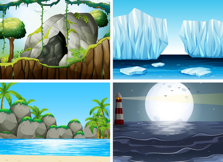 moutain: Four different scenes with ocean and moutain illustration Illustration