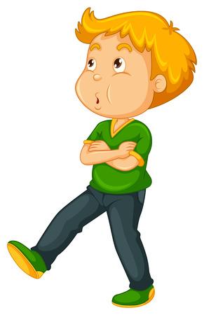 whistling: Little boy whistling while walking illustration