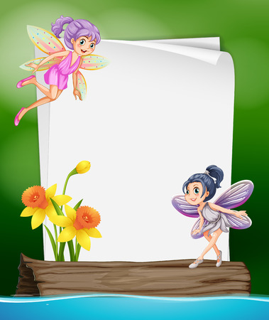 spring landscape: Paper template with two fairies flying illustration Illustration