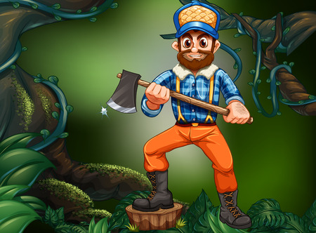forest wood: Lumber jack chopping wood in the forest illustration