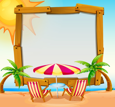 Frame Template With Beach In Background Illustration Royalty Free ...