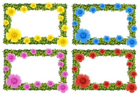 buttercups: Four frame design with colorful flowers illustration