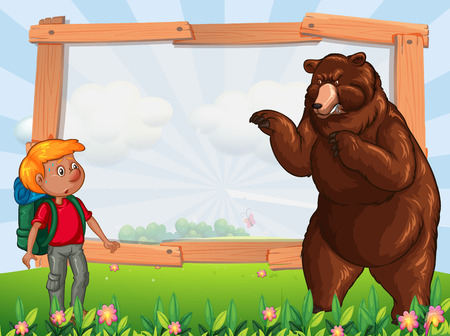 Frame template with hiker and bear illustration Illustration