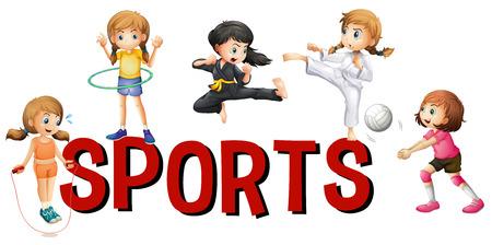 hulahoop: Font design for word sports illustration