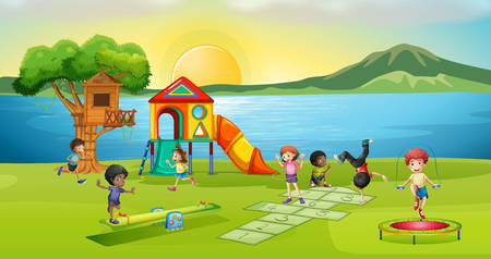 Children playing in playground at sunset illustration Illustration
