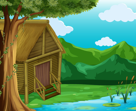 Wooden cabin by the river illustration