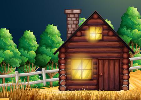 Houten hut in het bos illustratie Stock Illustratie