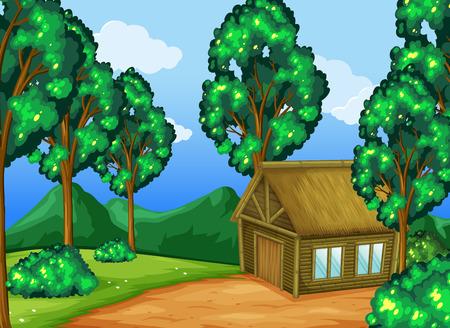 Wood cabin in the forest illustration Illustration