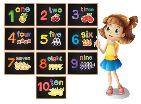 one girl: Little girl counting number one to ten illustration