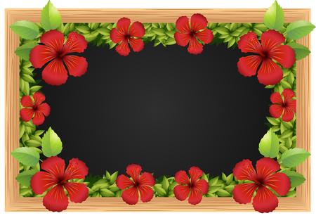 tropical flower: Red hibicus on the wooden frame illustration Illustration