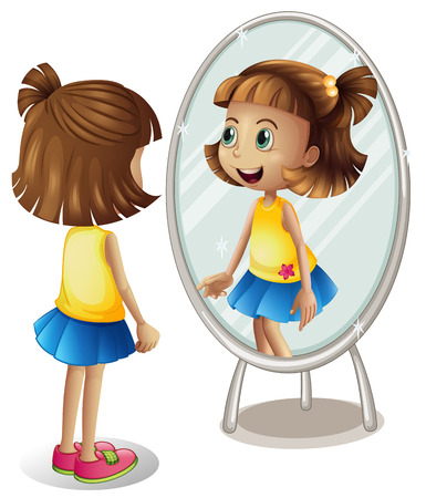 Little girl looking at herself in mirror illustration