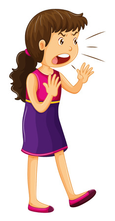 mad: Woman in purple dress shouting illustration Illustration