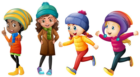 Four cute girls in winter clothes illustration Illustration