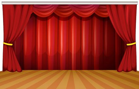 Podium met rode gordijnen illustratie