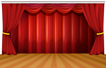 Stage with red curtains illustration Çizim