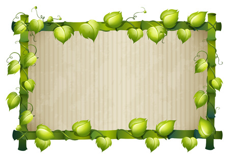 borders plants: Bamboo frame with green leaves illustration Illustration