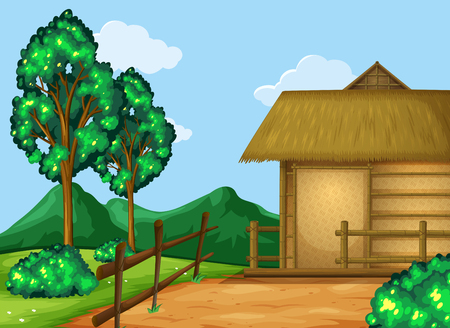 Scene with cabin in the field illustration