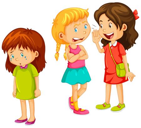 niños platicando: Chicas cotilleando otro amigo ilustración