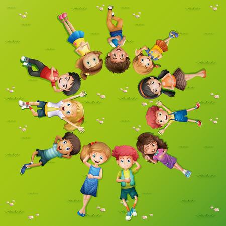 Children lying on grass in circle illustration Illustration