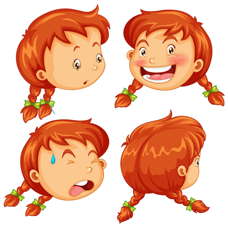 face expressions: Different facial expressions of little girl illustration Illustration