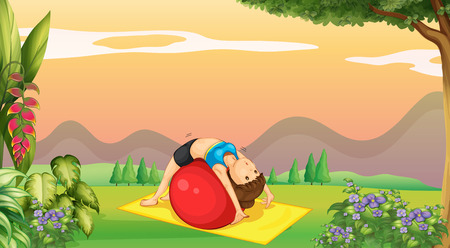 Woman doing yoga with big ball in park illustration