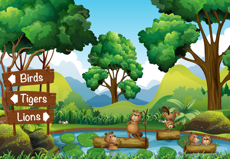 beavers: Beavers in the pond and signs for other animals illustration