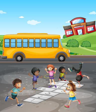 transporte escolar: campus de la escuela con los estudiantes que juegan en el campo de la ilustración Vectores