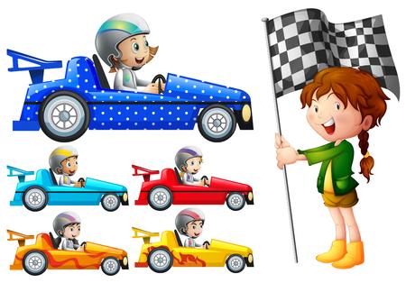 Kinderen in racewagens illustratie Vector Illustratie