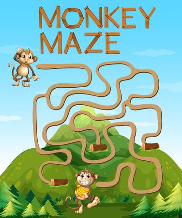 Labyrintspel met apen in de bosillustratie