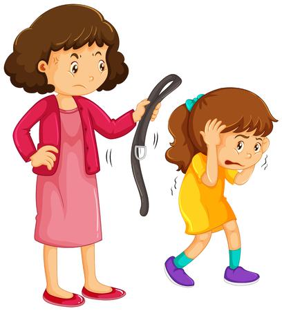 Chica siendo castigado por el ejemplo de la madre Ilustración de vector