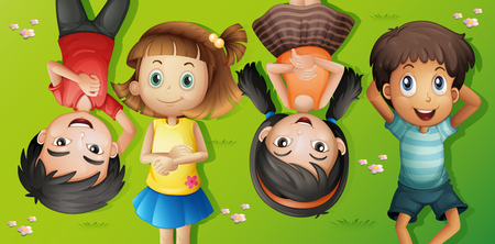 ly: Four kids lying on grass illustration