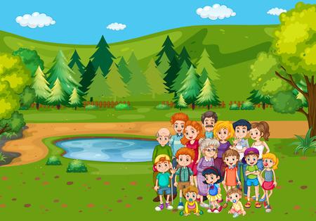 family park: Family members in the park illustration