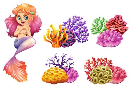 かわいい人魚やカラフルなサンゴ礁のイラスト  イラスト・ベクター素材