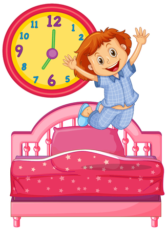 Little girl waking up from the bed illustration