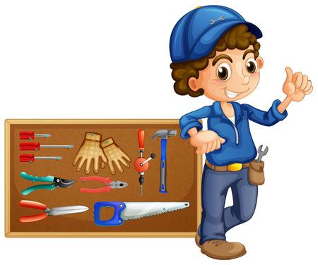 Mechanic with many tools illustration Illustration