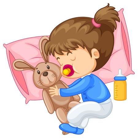 people sleeping: Little girl hugging rabbit in bed illustration