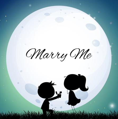 Liefdepaar die huwelijk voorstelt op volle maannachtillustratie