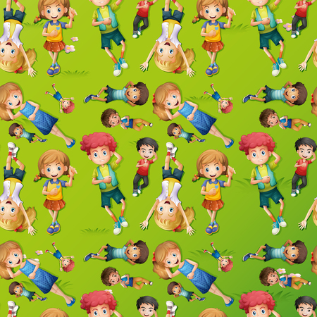 ly: Seamless background design with kids on grass illustration